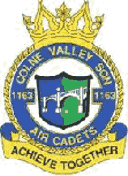 1163 (Colne Valley) Air Training Corps (ATC)/Air Cadets Squadron badge. Click to go to the 1163 (Colne Valley) Air Training Corps (ATC)/Air Cadets homepage