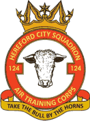 124 (Hereford) Air Training Corps (ATC)/Air Cadets Squadron badge. Click to go to the 124 (Hereford) Air Training Corps (ATC)/Air Cadets homepage