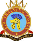224 (Hexham) Air Training Corps (ATC)/Air Cadets Squadron badge. Click to go to the 224 (Hexham) Air Training Corps (ATC)/Air Cadets homepage