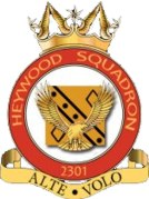 2301 (Heywood) Air Training Corps (ATC)/Air Cadets Squadron badge. Click to go to the 2301 (Heywood) Air Training Corps (ATC)/Air Cadets homepage