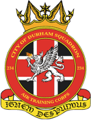 234 (City of Durham) Air Training Corps (ATC)/Air Cadets Squadron badge. Click to go to the 234 (City of Durham) Air Training Corps (ATC)/Air Cadets homepage