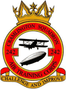 242 (Cramlington) Air Training Corps (ATC)/Air Cadets Squadron badge. Click to go to the 242 (Cramlington) Air Training Corps (ATC)/Air Cadets homepage