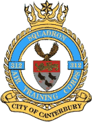 312 (City of Canterbury) Air Training Corps (ATC)/Air Cadets Squadron badge. Click to go to the 312 (City of Canterbury) Air Training Corps (ATC)/Air Cadets homepage