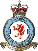 418 (Aberconwy) Air Training Corps (ATC)/Air Cadets Squadron badge. Click to go to the 418 (Aberconwy) Air Training Corps (ATC)/Air Cadets homepage