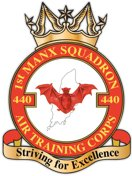 440 (1st Manx) Air Training Corps (ATC)/Air Cadets Squadron badge. Click to go to the 440 (1st Manx) Air Training Corps (ATC)/Air Cadets homepage