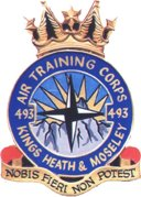 493 (Kings Heath & Moseley) Air Training Corps (ATC)/Air Cadets Squadron badge. Click to go to the 493 (Kings Heath & Moseley) Air Training Corps (ATC)/Air Cadets homepage