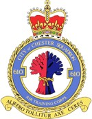 610 (City of Chester) Air Training Corps (ATC)/Air Cadets Squadron badge. Click to go to the 610 (City of Chester) Air Training Corps (ATC)/Air Cadets homepage